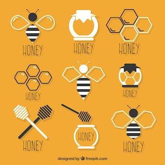 Selection of flat honey elements