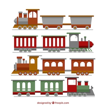 Selection of flat trains with variety of designs