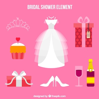 Selection of flat wedding accessories