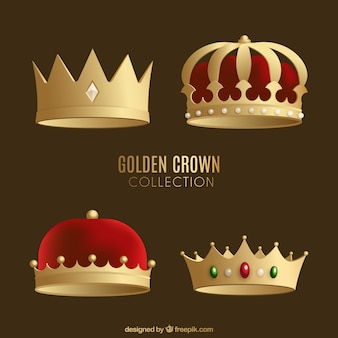 Selection of four luxury golden crowns