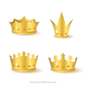 Selezione di quattro corone d'oro realistici