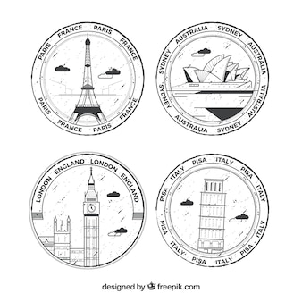 Selection of four round stamps with great cities