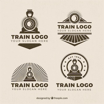 Selection of four train logos in retro style