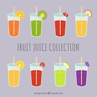 Selezione di bicchieri con succhi di frutta