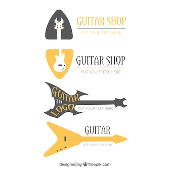 Selection of guitar logos in flat design