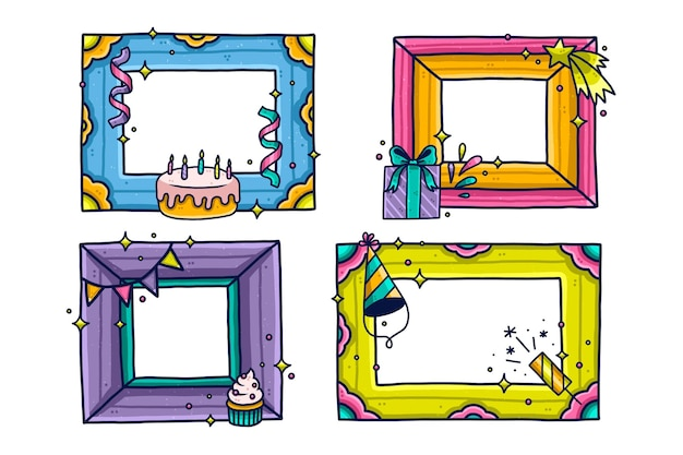 Selection of hand-drawn birthday collage frames