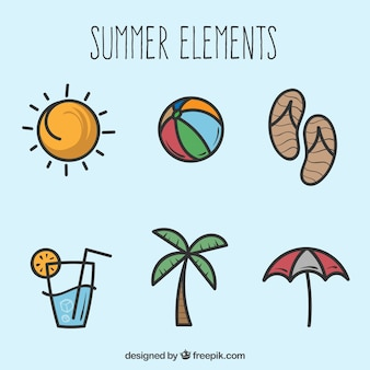 Selection of hand-drawn summer elements