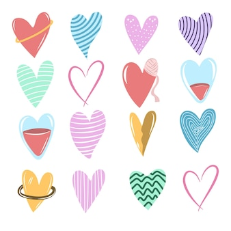 Selection of love shape in different type doodle style