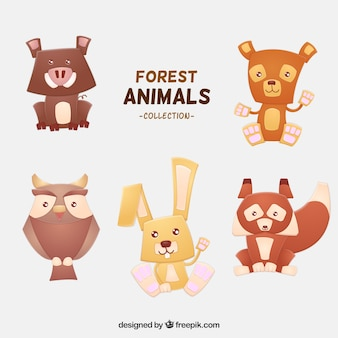 Selection of lovely forest animals in geometric style