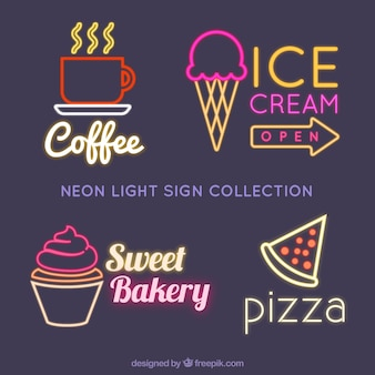 Selection of neon signs for establishments