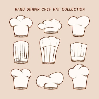 Selection of nine hand-drawn chef hats