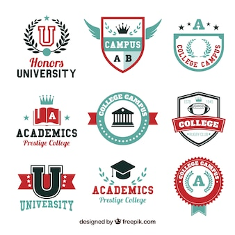 Selection of nine logos for college