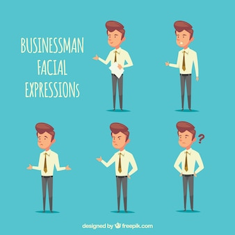 Selection of businessman character with facial expressions