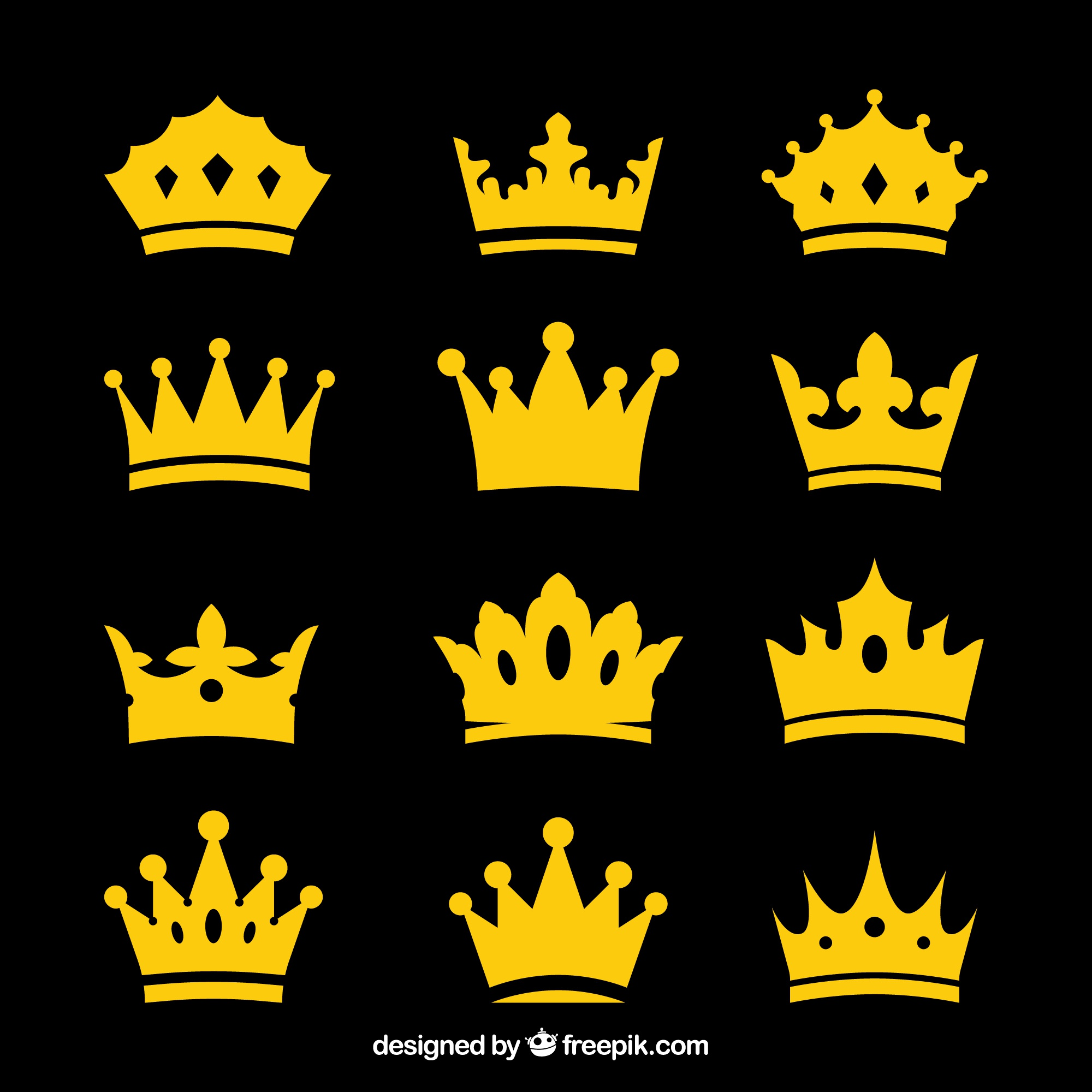 Selection of decorative crowns in flat design