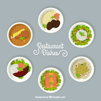 Selection of different restaurant dishes