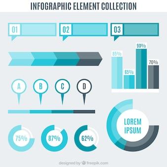 Выбор фантастических инфографических элементов в синих тонах
