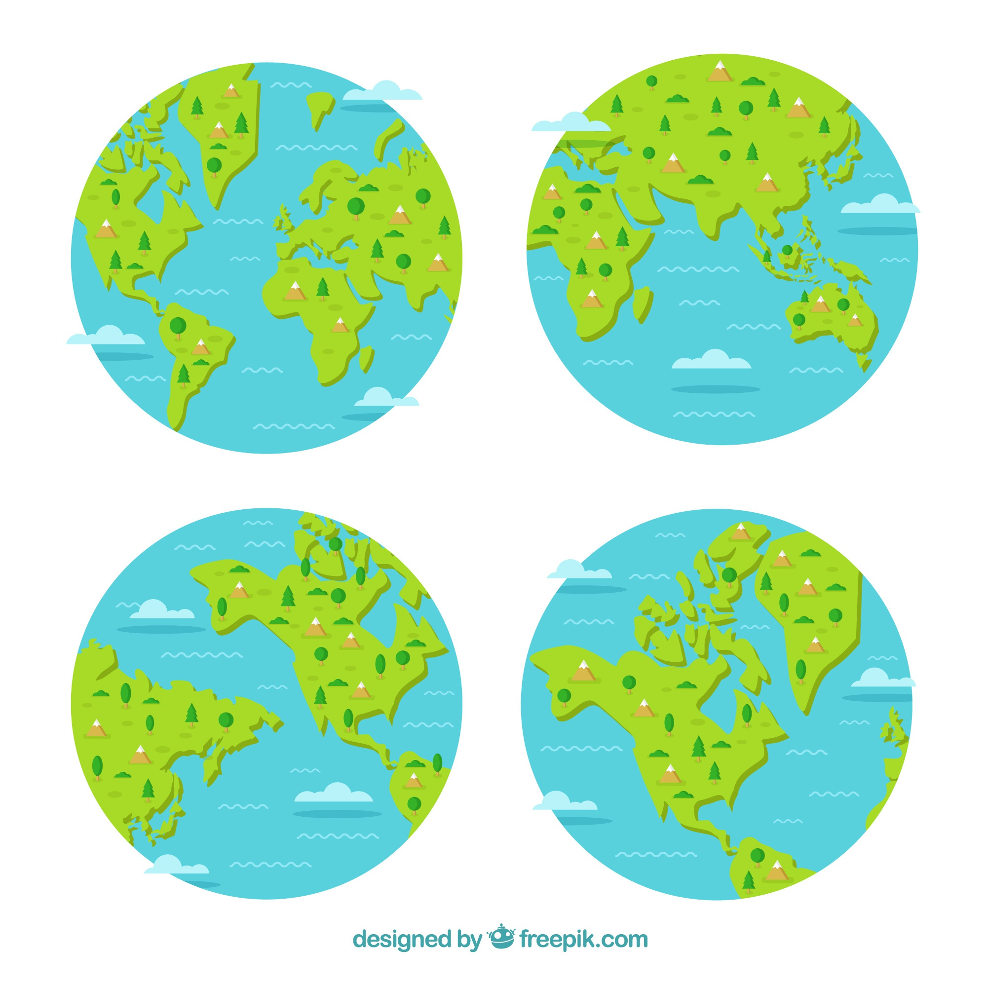 Selection of four earth globes with decorative trees and mountains