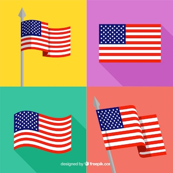 Selection of four flat american flags