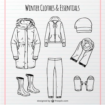 Selection of hand drawn comfortable winter clothes