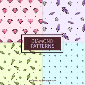 Selection of patterns with gemstones in flat design
