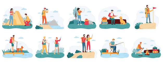 Подбор людей в поход в плоском дизайне