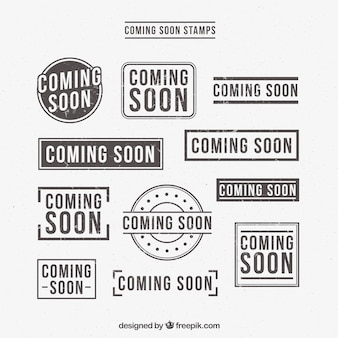 Selection of retro coming soon stickers