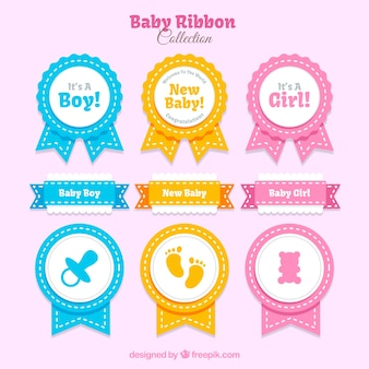 Selection of ribbons for baby shower with different colors