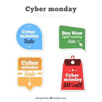 Selection of sale stickers for cyber monday