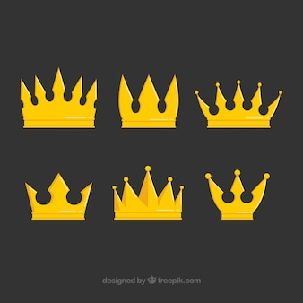 Выбор из шести золотых коронок в плоском дизайне