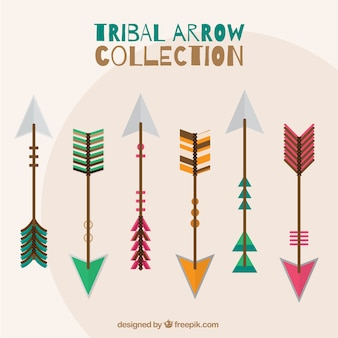 Selection of tribal arrows with different colors and designs
