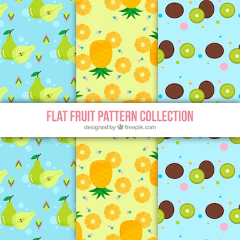Selection of patterns with variety of flat fruits