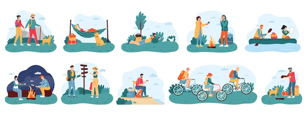 Selection of people hiking in flat design