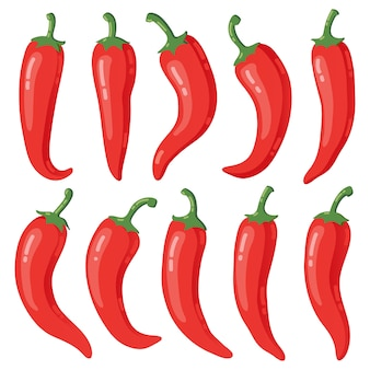 Selection of red chili peppers