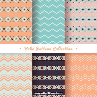 Selection of six boho patterns with geometric forms