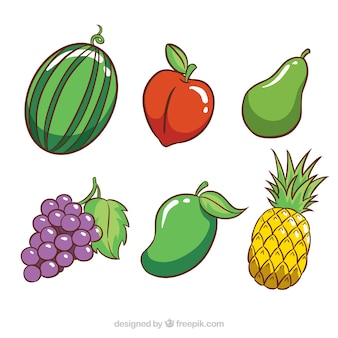 Selection of six colored fruits