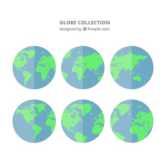 Selection of six earth globes