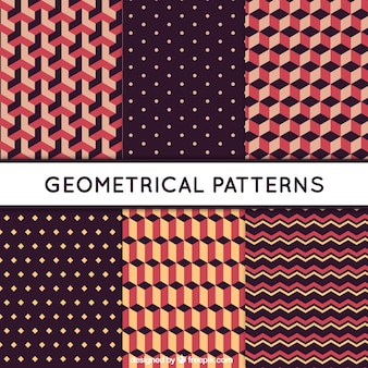 Selection of six patterns with geometric shapes