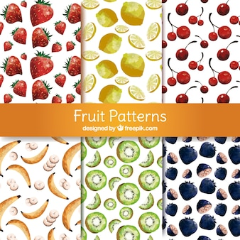 Selection of six patterns with watercolor fruits