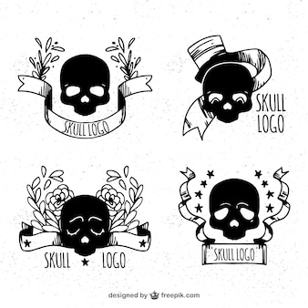 Selection of skull logos with decorative ribbon