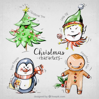 Selection of smiling christmas character painted with watercolor