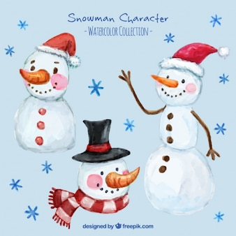 Selection of smiling snowmen painted with watercolor