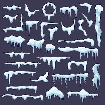 Selection of snow caps and icicles