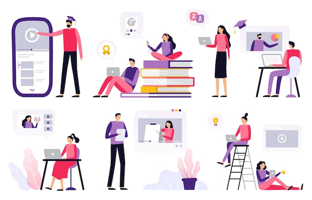 Selection of studying people in flat design
