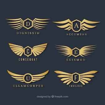 Selection of stylish wings logos