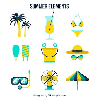 Selection of summer items with yellow details