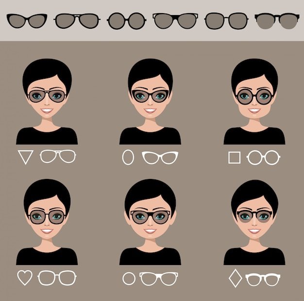 Selection sunglasses to different shapes of a face