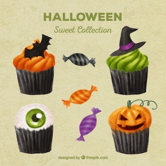 Selection of tasty cupcakes for halloween