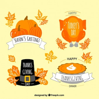 Selection of thanksgiving badges