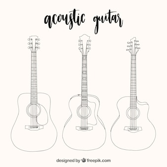 Selection of three acoustic guitars in hand-drawn style