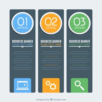 Selection of three business banners